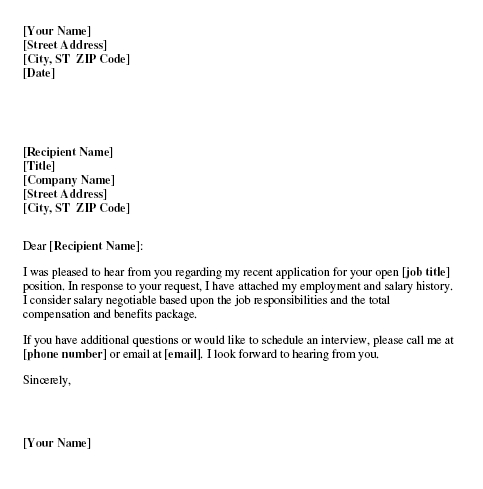 Salary Cover Letter Request